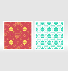 seamless pattern with christmas toy stars gifts vector image