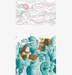 seamless pattern with japanese carps tile vector image