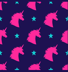 seamless pattern with magical unicorn head vector image