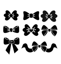 set graphic decorative bows black ribbons vector image