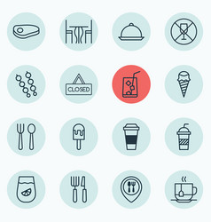 set of 16 cafe icons includes closed placard vector image