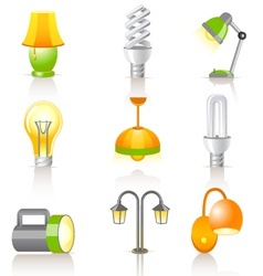 Set of lamps vector