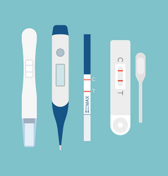 Set of pregnancy test flat design vector
