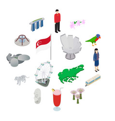 singapore icons set isometric 3d style vector image