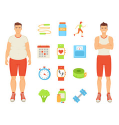 sport and diet men and icons vector image