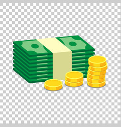 Stacks of gold coins and stacks of dollar cash in vector