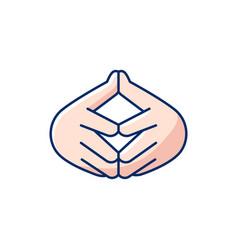 Steeple hand gesture rgb color icon vector