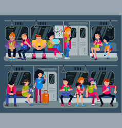 subway people in metro and passengers in vector image