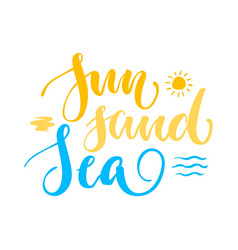 sun sand sea lettering isolated vector image