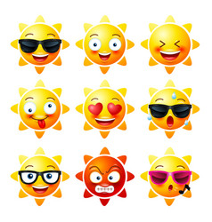 sun smiley face icons or yellow emoticons vector image