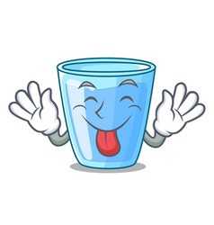 Tongue out glass of mineral water on cartoon vector