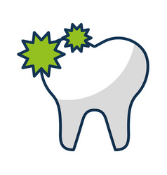 Tooth with caries isolated icon vector