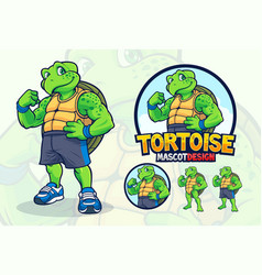 turtle mascot design for companies or sport teams vector image