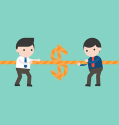 two businessmen pulling rope tug of war money game vector image