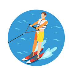 water skiing icon vector image