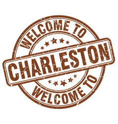 Welcome to charleston brown round vintage stamp vector