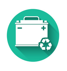 White car battery with recycle icon isolated with vector