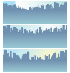 wide panorama city skyscrapers silhouettes vector image