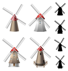 Windmill set vector image