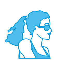 woman head witn sunglasses vector image