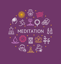 yoga meditation relaxation round design template vector image