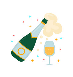 a bottle of champagne and a glass vector image vector image