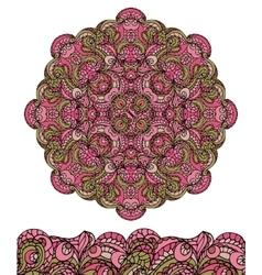 Abstract ethnic mandala seamless borderCute vector image