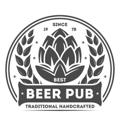 Beer pub vintage isolated label vector image