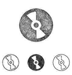 Compact disc icon set - sketch line art vector image