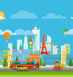 Dirrefent world famous sights Vacation travelling vector image