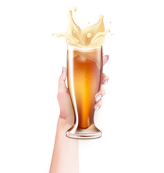 realistic beer glass splashing in hand vector image