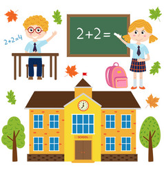 set of isolated building school and children vector image