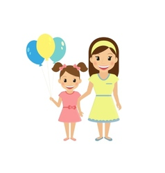 Mom with little daughter vector image vector image