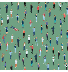 seamless tile of people crowd isometric vector image
