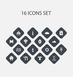 set of 16 editable religion icons includes vector image vector image