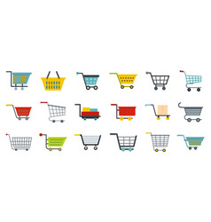 shop cart icon set flat style vector image