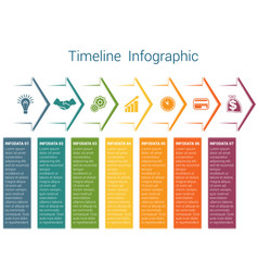 timeline infographic 7 color arrows vector image