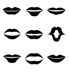 women lips and mouth flat style icon set vector image vector image