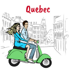 couple driving scooter on st jean street vector image vector image