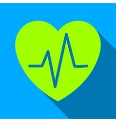 Heart Ekg Flat Long Shadow Square Icon vector image vector image