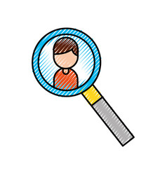 magnifier icon with cartoon man user icon vector image