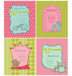 Set of Baby Shower Cards vector image vector image