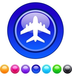 Aircraft circle button vector image