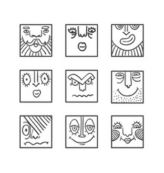 big avatar doodle icons collection vector image vector image