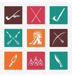 Ethnic native american indians icons vector image vector image