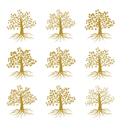 Golden decorative trees like olive and oak ash vector image