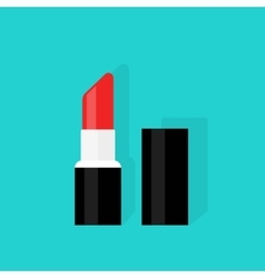 Red open lipstick isolated on color background vector image