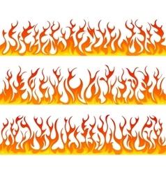 Seamless fire flames line set vector image