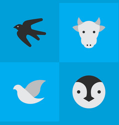 set of simple animals icons vector image