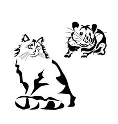 a cat stencil tattoo vector image